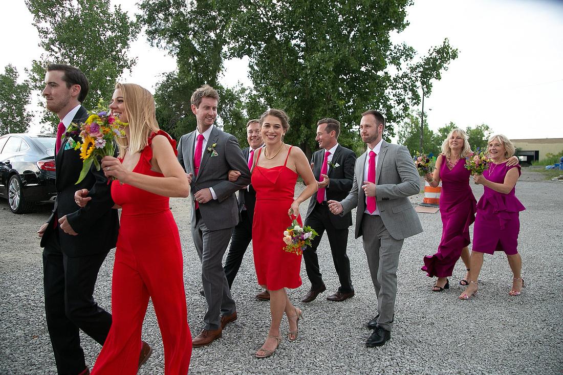 bridal party exits wedding day with Katrina Cross Photography