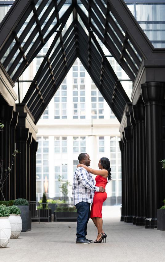Downtown Detroit MI engagement portraits with Michigan wedding photographer Katrina Cross Photography